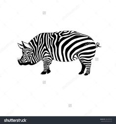 striped pig on a white background