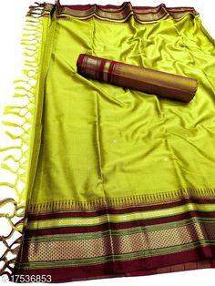 Sarees Hirkal Traditional Paithani Silk Sarees With Contrast Blouse Piece (Lemon & Brown)  Saree Fabric: Silk Blend Blouse: Separate Blouse Piece Blouse Fabric: Silk Blend Pattern: Woven Design Blouse Pattern: Woven Design Multipack: Single Sizes:  Free Size (Saree Length Size: 5.3 m, Blouse Length Size: 0.8 m)  Country of Origin: India Sizes Available: Free Size   Catalog Rating: ★4 (469)  Catalog Name: Aakarsha Fashionable Sarees CatalogID_2303917 C74-SC1004 Code: 146-17536853-7761