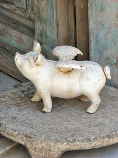 Flying pig~ a dear friend states that this is when she will remarry~when pigs fly! This Little Piggy, Little Pigs, Santorini, Farm Animals, Cute Animals, Pig Art, Flying Pig, Outdoor Sculpture, Garden Ornaments