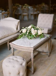 Lounge centerpiece, English garden roses, cream and taupe palette @Greengate Ranch ~ www.adornmentsflowers.com