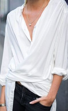 Update your white shirt by styling it wrapped across the front. www.stylestaples.com.au