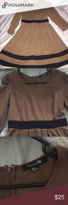 Forever 21 3/4 inch Sleeve Fall Harvest Dress Brown size Medium dress with black details and puffy sleeves. Was worn once. Comes from a smoke free home. Comes to about knee length depending on your height. Not Zara Zara Dresses Long Sleeve