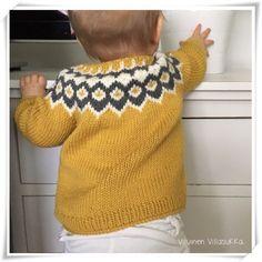 Viluinen Villasukka: Loki-neuletakki Best Knots, Icelandic Sweaters, Knitted Baby Clothes, Crochet Bebe, Handicraft, Baby Knitting, Color Combinations, Children, Kids