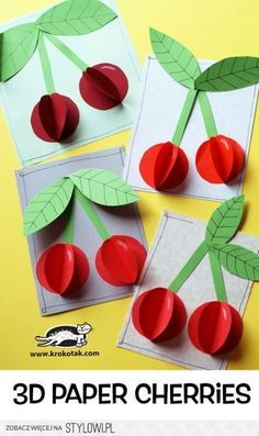 """The post Paper Cherries"""" appeared first on Pink Unicorn activities Older Kids Crafts, Summer Crafts, Preschool Crafts, Diy And Crafts, Craft Projects, Arts And Crafts, Paper Crafts, Craft Kids, Paper Tree"""