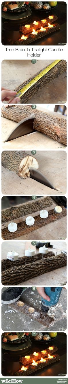 How to Make a Tree Branch Tealight Candle Holder. Do you want to make your own rustic style candle holders? Here's a cool way to make use of a fallen tree branches. Diy Candles, Tea Light Candles, Tea Lights, Wood Crafts, Diy Crafts, Tealight Candle Holders, Candle Stands, Deco Table, Craft Fairs