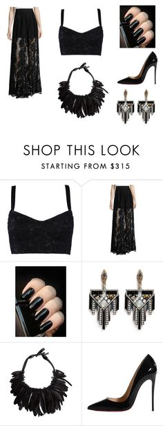 """""""black"""" by peace-girl23 on Polyvore featuring Dolce&Gabbana, Alexis, Lulu Frost, Monies and Christian Louboutin"""