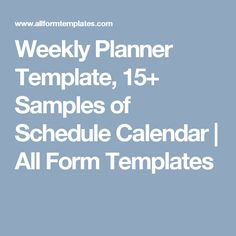 Daily Planner TemplateDaily Schedule Template  Weekly Planner