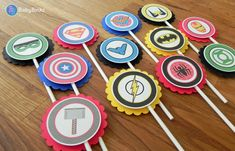 Super Hero Logo Cupcake Toppers  superhero batman by BabyBinkz