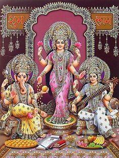 Lakshmi, Saraswati and Ganesha (via Dolls of India) Indian Goddess, Goddess Art, Ganesha Art, Krishna Art, Shri Ganesh, Diwali Pooja, Saraswati Goddess, Lakshmi Images, Witches