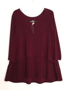Sympli tunic artsy top lagenlook red designer tiered art to wear Canada 14 #Sympli #Tunic #EveningOccasion