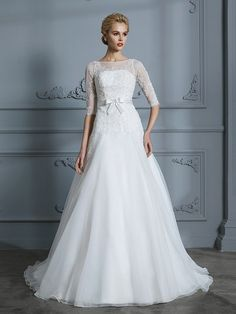 1bde19a32800 A-Line Tulle Ivory Scoop 1/2 Sleeves Long Wedding Dresses