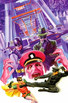 Batman Meets The Green Hornet 3 - Cover by Alex Ross Batman 1966, Batman Robin, Batman And Superman, Alex Ross, Comic Book Artists, Comic Artist, Comic Books Art, Bruce Lee, James Gordon