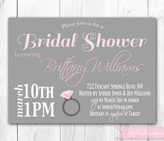 Bridal Shower Invitation. Engagement Ring Bachelorette Invitation. DIY Printable Bridal Shower Invitaiton.