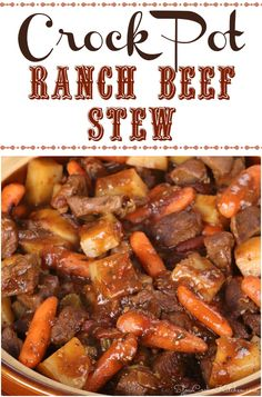 A twist of ranch added to classically delicious crockpot beef stew. A twist of ranch added to classically delicious crockpot beef stew. Crockpot Dishes, Crock Pot Slow Cooker, Crock Pot Cooking, Slow Cooker Recipes, Cooking Recipes, Crockpot Recipes, Crock Pots, Beef Stew Slow Cooker, Beef Stew Meat