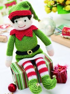 Bernard the Elf - free knitting pattern from Let's Knit. Or, a cute doll without the elfie stuff.Knitted Bernad the Elf - Free Knitting Pattern ( You will need to be registered…Christmas elves have always been symbolic of festive cheer, and Bernard Baby Knitting Patterns, Free Knitting, Knitting Needles, Vintage Knitting, Crochet Patterns, Knitted Toys Patterns, Free Christmas Knitting Patterns, Stitch Patterns, Knitting Toys