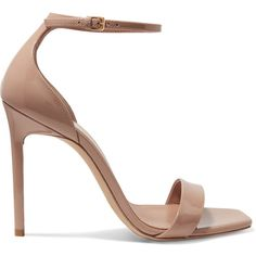 Saint Laurent Amber patent-leather sandals (36,445 INR) ❤ liked on Polyvore featuring shoes, sandals, heels, my shoes, strap sandals, high heeled footwear, beige strappy sandals, ankle strap heel sandals and high heels sandals
