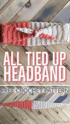 All Tied Up Headband - Free Crochet Pattern from Kaite's Crochet, A Modern Crochet Blog