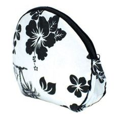 Cosmetic Bag - Black Hibiscus by tikimaster. $4.40. Large Black Hibiscus & Palm Tree canvas clam shell cosmetic bag.