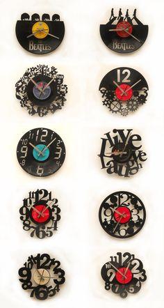 Relojes Corte Láser sobre Discos de Vinílo / Laser Cutting Vinyl Disc Wall Clocks