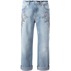 Alexander McQueen embroidered boyfriend jeans (6,235 ILS) ❤ liked on Polyvore featuring jeans, blue, embroidery jeans, torn jeans, distressing jeans, embroidered jeans and alexander mcqueen