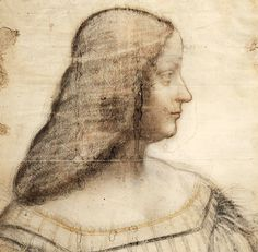51. Portrait d'Isabelle d'Este (Portrait of Isabella d'Este), 1499-1500, Black and red chalk with stump,ochre chalk, white highlights