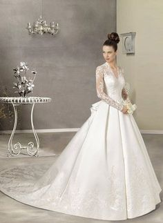 """Classic wedding gown . . .Reminds me of the gown """"Maria"""" wore in """"The Sound of Music."""""""