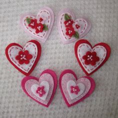6 Hot Pink Red and Pink Felt Hearts by CraftydsCreations on Etsy, $5.50