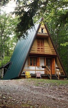 Tiny house a frame cabin homes design ideas glamorous cabins and cottages 3 bedroom A Frame Cabin, A Frame House, Cabin Homes, Log Homes, Cabins And Cottages, Cabins In The Woods, Little Houses, Tiny Houses, My Dream Home