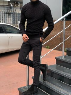 GentWith Marina Black Slim Fit Turtleneck Sweater – Gent With - Mode für Frauen Black Turtleneck Outfit, Black Outfit Men, Mens Turtleneck, Black Chelsea Boots Outfit, Mode Man, Stylish Mens Outfits, Mens Sweater Outfits, Hipster Sweater, Classy Outfits