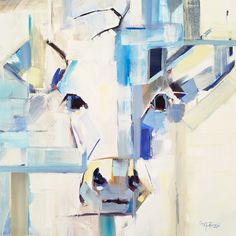"""How Now, Blue Cow"" abstract original oil painting by Alabama artist Gina Brown"