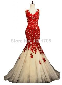 Free shipping Elegant V-neck Backless Red Prom dress 2014 Mermaid Floor Length Evening Gowns 2014 New Fashion $127.00