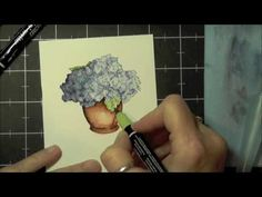 Watercoloring a stamped image with markers