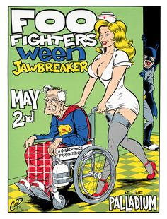 Foo Fighters, Ween, Jawbreak. May 2nd at the Palladium, illustration by Coop, 1996.