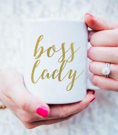 gold boss lady mug