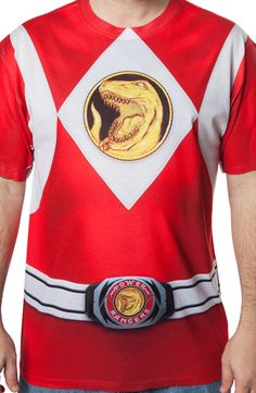 Red Ranger Sublimation Costume T-Shirt: Mighty Morphin Power Rangers