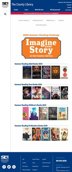Summer reading lists for PreReaders, Children, Teens, and Adults from the Salt Lake County Library