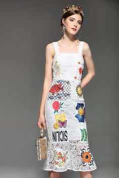 Runway Designer Summer Dress Women s Spaghetti Strap Hollow out Backless  Elegant White Lace Bodycon Dress a266e9589666