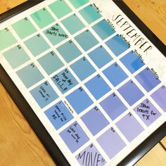 DIY Paint Chip Calendar Paint Swatch Art, Paint Swatches, Diy Arts And Crafts, Home Crafts, Diy Crafts, Paint Sample Calendar, Couple Message, Wall Candy, Goal Board