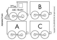 Escribir Abecedario Tren para colorear, recortar y montar. para infantil