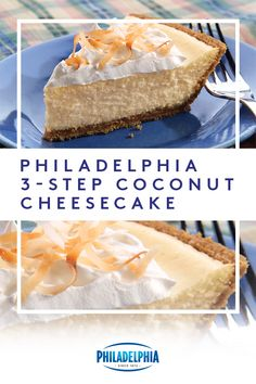 Discover a ridiculously easy-to-make coconut cheesecake recipe! This PHILADELPHIA Coconut Cheesecake will be on the dessert table in no time. Low Carb Desserts, No Bake Desserts, Easy Desserts, Delicious Desserts, Dessert Recipes, Yummy Food, Pie Dessert, Easter Recipes, Dessert Ideas