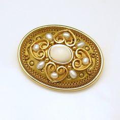 MICHAL GOLAN Vintage Brooch Pin Pendant Hearts by MyClassicJewelry