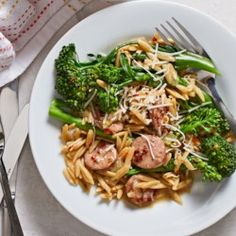 Broccolini, Chicken Sausage & Orzo Skillet - EatingWell.com