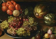 Unknown (German) Still Life with Onions, Grapes, Melons and Figs 17th century