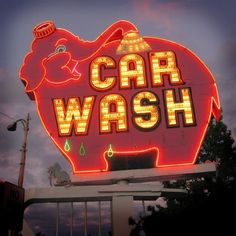 car wash, elephant, neon sign