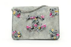 Chanel Floral Embroidery Taupe Suede Flap Bag - Spring Summer 2015