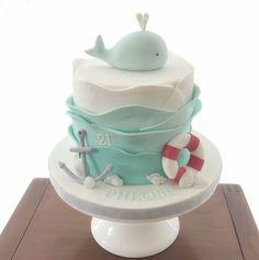 Under the sea Whale birthday cake Vanilla Pods by Kim Birthday Cake Kids Boys, Baby Birthday Cakes, 30th Birthday, Birthday Ideas, Whale Cakes, Sea Cakes, Bolo Cake, Baby Shower Cakes, First Birthdays