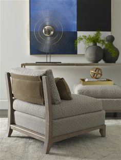 Vanguard Furniture: Room Scene TF_9076-AC_9450S_9076-OT Upholstered Accent Chairs, Armless Chair, Ottoman, Contemporary, Pillows, Living Room, Scene, Furniture, Detail