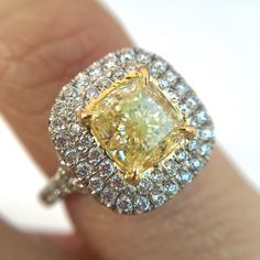 1.26ct Fancy Light Yellow Cushion Cut Diamond Double Halo Ring, by Brilliantly Engaged