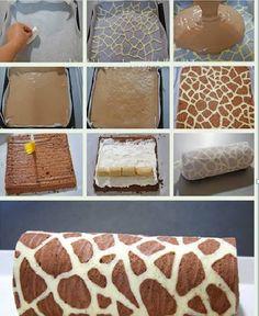 Zürafa Desenli Kakaolu  Rulo Pasta Tarifi