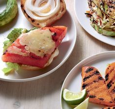 Here is a surprising vegetarian option for the backyard barbecue. The saltiness of the cheese cuts the sweetness of the watermelon. The burger gets its savory nature from the grill and a hit of onion. (Photo: Yunhee Kim for The New York Times)